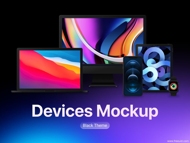 全套苹果设备样机免费源文件下载,iPhone 12样机mockup,iMac样机mocup