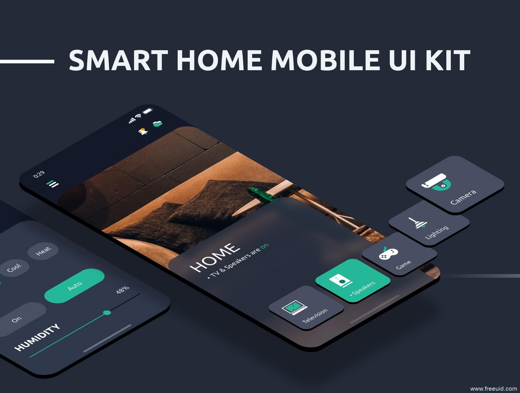 智能居家APP UI KIT套装下载,暗色模式+亮色模式两套超完整智能家居app UI源文件下载,智慧家庭app UI资源sketch源文件下载