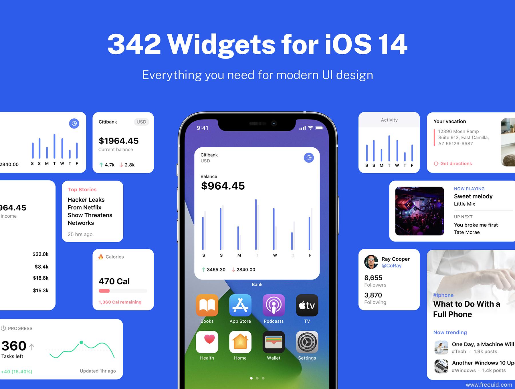 300多种不同风格的iOS 14小组件UI工具包下载,iOS 14 UI kit, iOS UI小组件psd源文件,sketch源文件下载,xd源文件下载