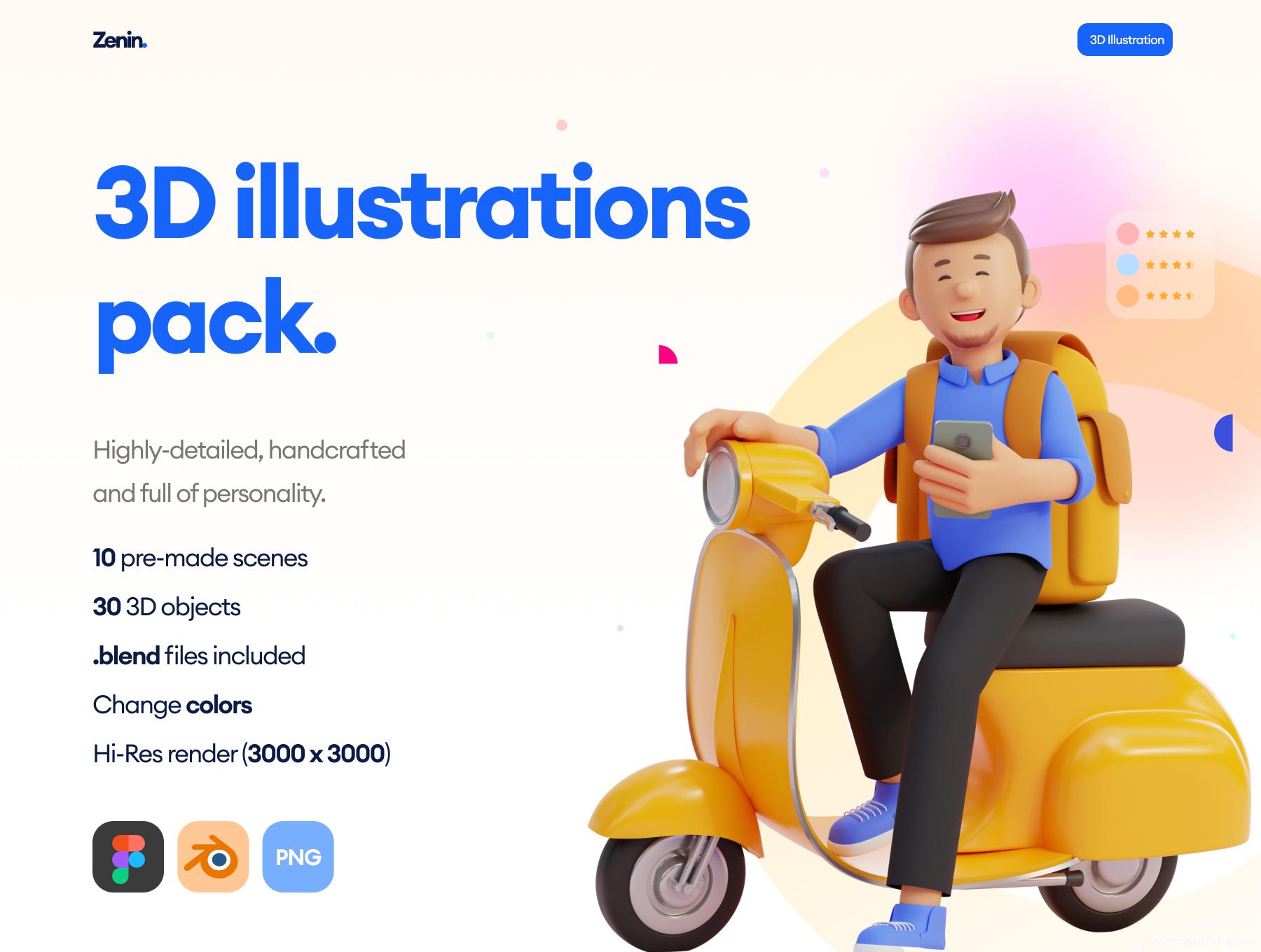 3D趣味插画资源下载,卡通风3D插画素材,3D运营资源插画素材下载