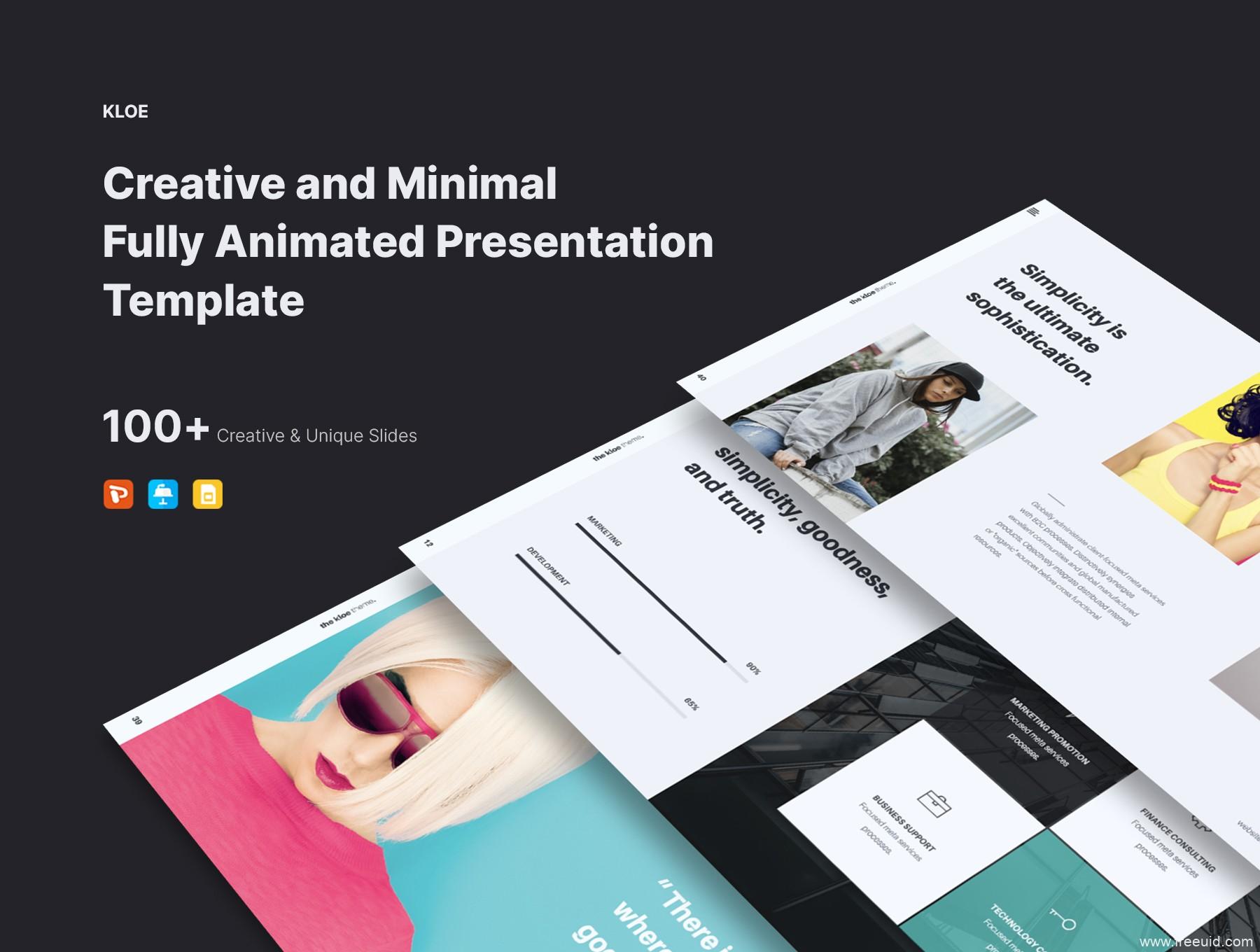整套极简主义作品集包装展示ppt模版、设计师作品展示幻灯片、小清新总结汇报策划书模版下载