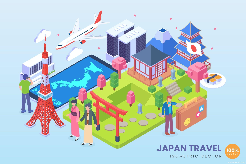 地标建筑2.5d矢量插画素材,旅游主题2.5D矢量插画日本地标2.5d插画ai源文件下载