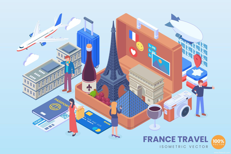 地标建筑2.5d矢量插画素材,旅游主题2.5D矢量插画法国地标2.5d插画ai源文件下载