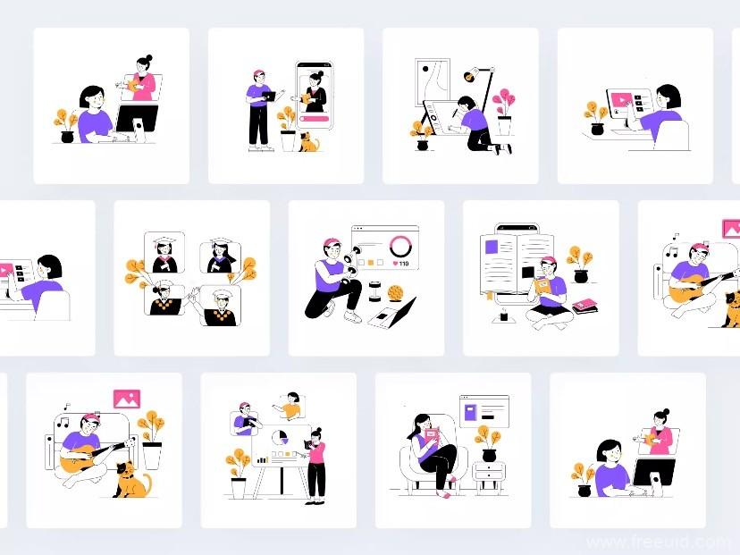 精品高质量动效插画库源文件设计,一套适合在线教育的动效插画素材库下载