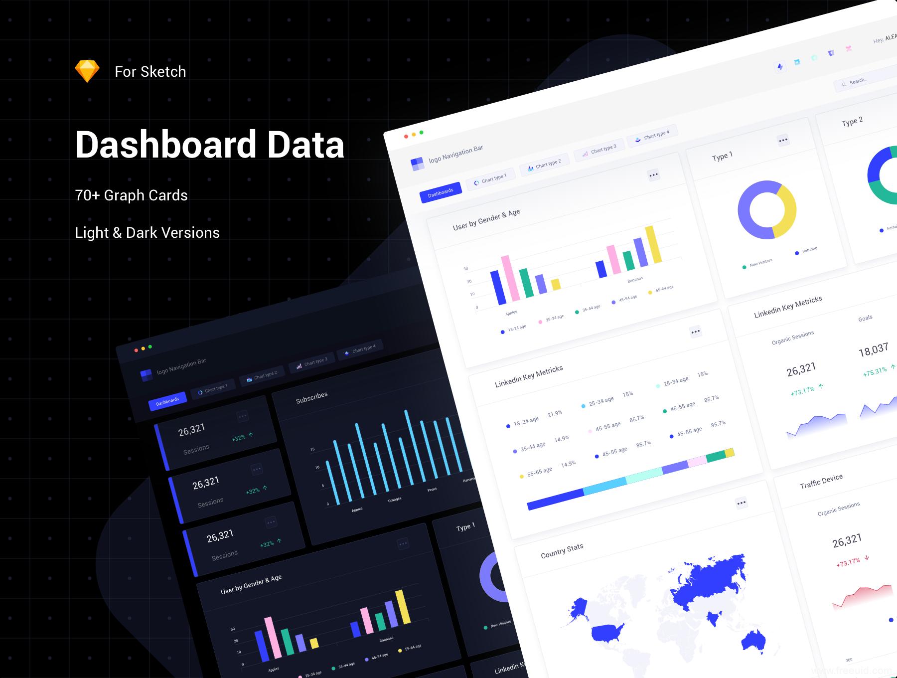 区块链数据可视化后台ui源文件下载,B端数据可视化后台dashboard UI资源skretch源文件下载