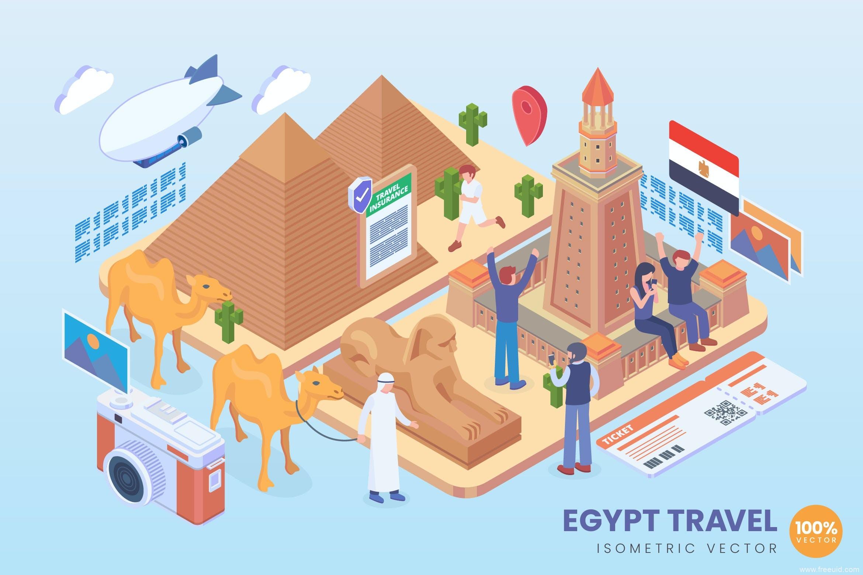 地标建筑2.5d矢量插画素材,旅游主题2.5D矢量插画埃及地标2.5d插画ai源文件下载