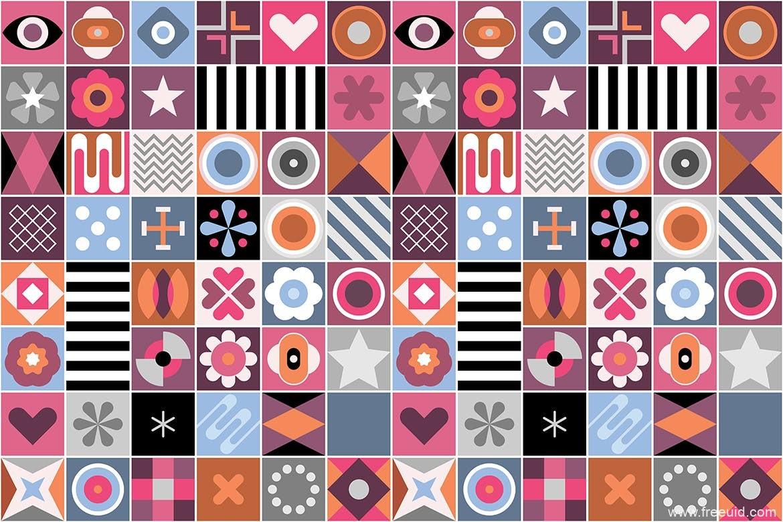 精美抽象几何混合图案无缝背景素材下载