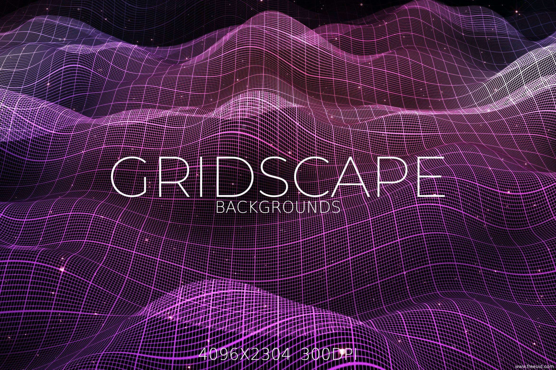 科技感波浪网格背景图素材、抽象科技风网格素材