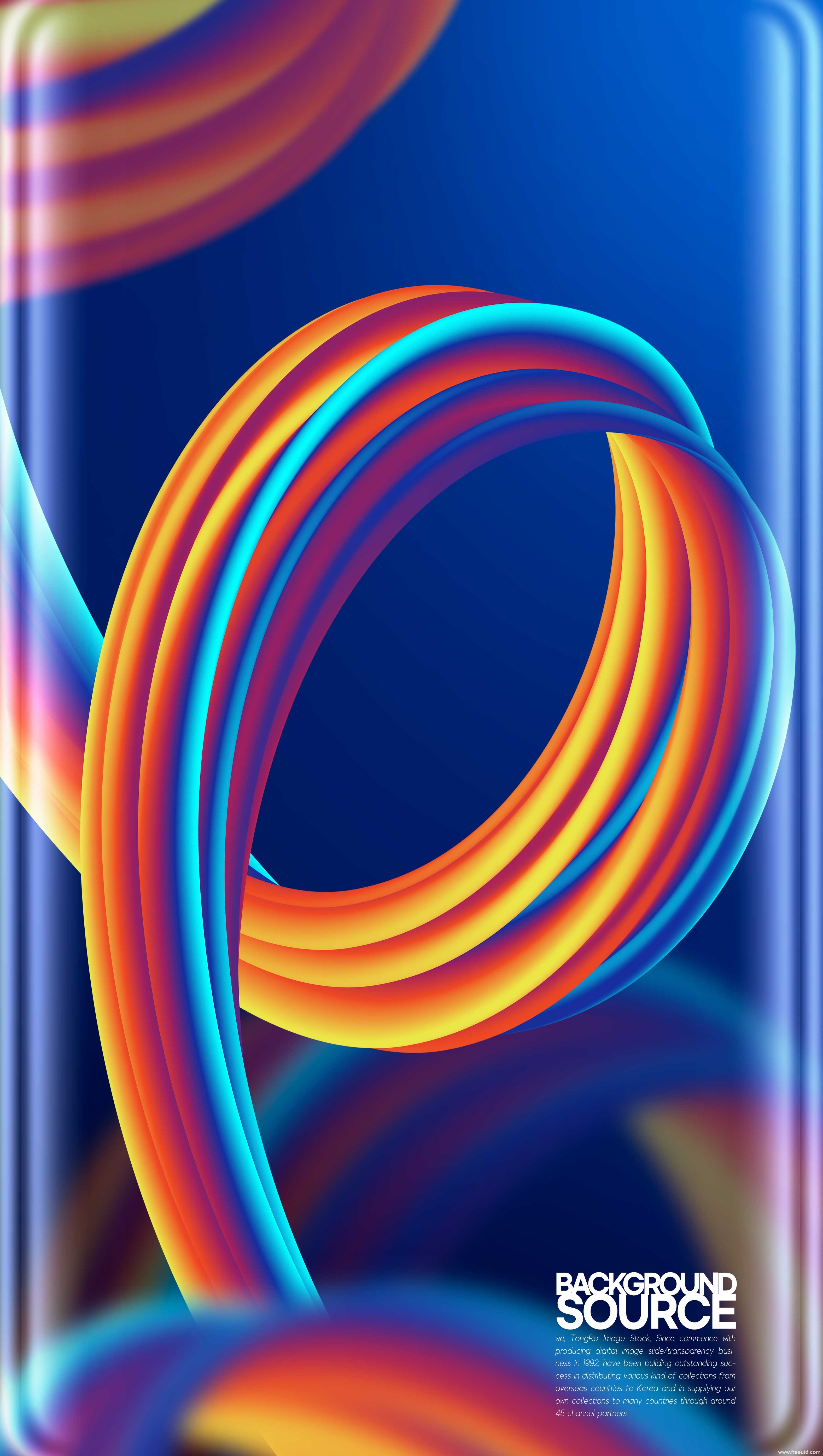 色彩丰富的几何抽象渐变曲屏壁纸图片psd素材