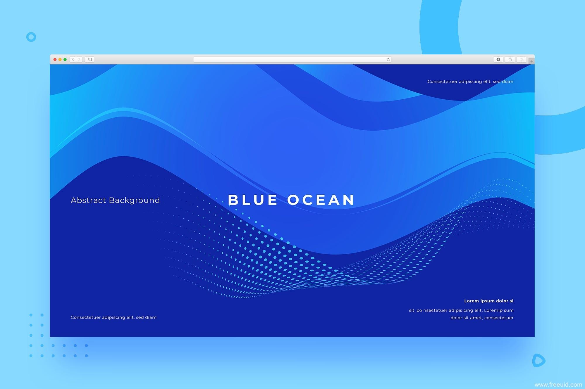 科技蓝网站页面UI设计抽象背景图素材