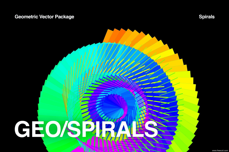 梦幻抽象3D彩色几何螺旋插图背景图片合集