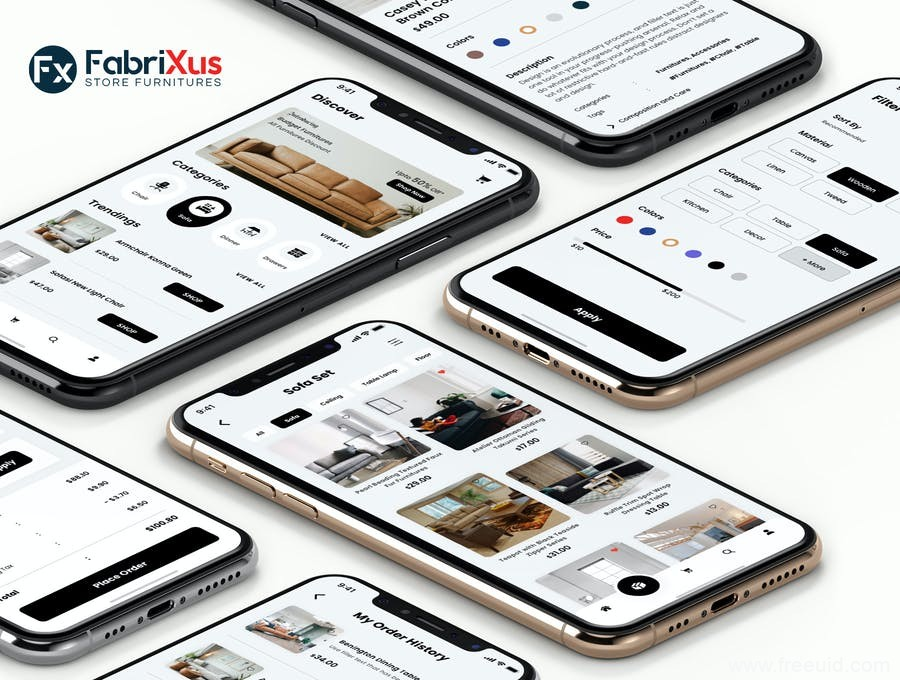 家居电商app UI源文件下载,家具电商UI资源下载,家具商城app UI素材sketch源文件、figma源文件下载