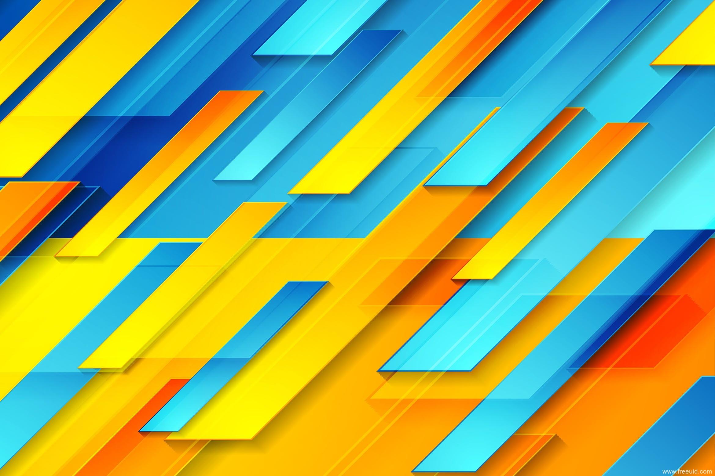 蓝橙色光泽几何线条形状抽象背景