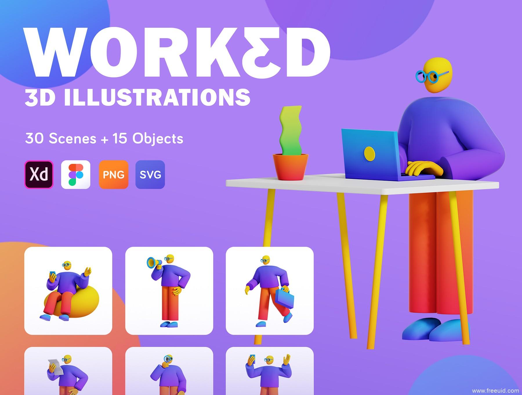运营人物场景3D插画组件库下载,商务办公/互联网办公场景3D人物插画素材库下载