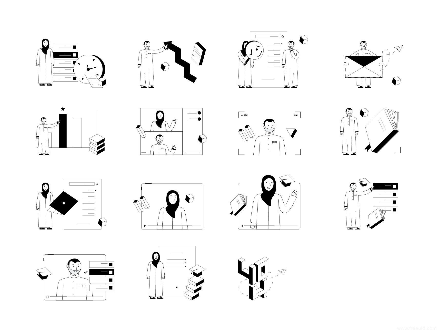 一套简约风黑白线条运营插画素材库,矢量等距黑白线条运营插画组件库