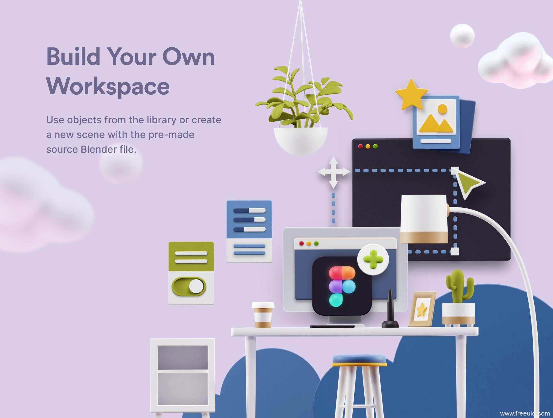 一套办公室场景3D插画资源下载,办公桌办公场景运营3D插画素材blend源文件下载,sketch,blend,fig源文件下载