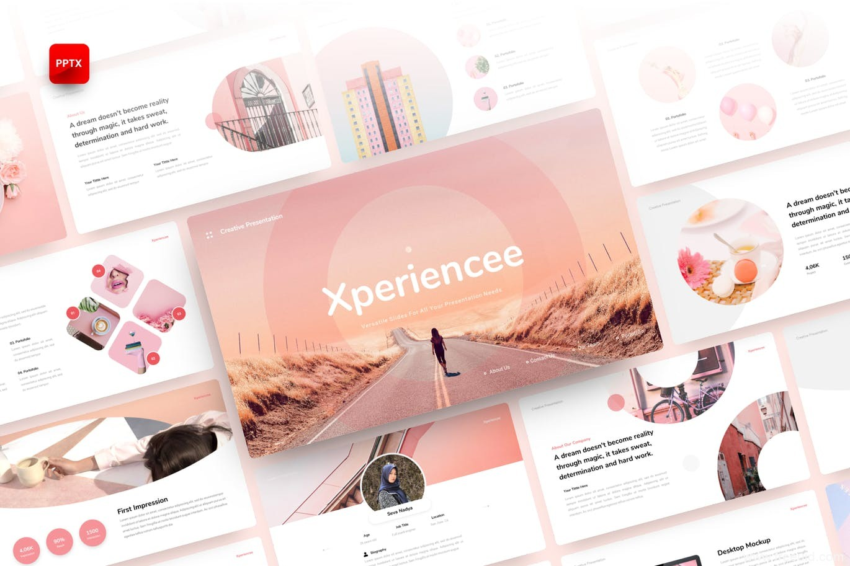 可爱粉色小清新创意PPT模板下载,设计师作品集包装PPT幻灯片模板