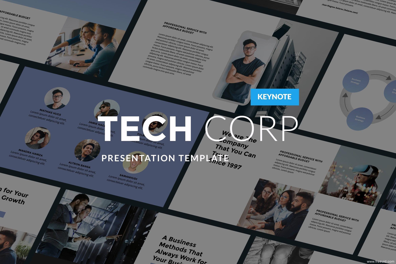 高科技公司会议演讲Keynote幻灯片设计模板、设计师高端作品集包装PPT幻灯片模板