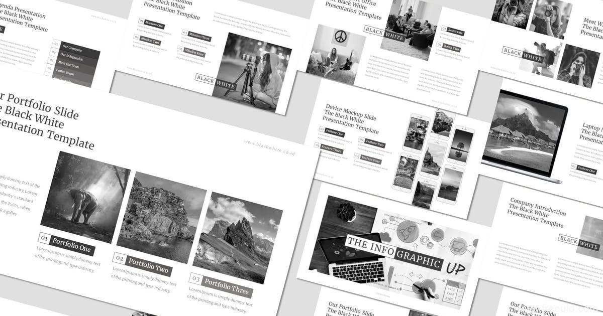 双色黑白杂志风简约谷歌幻灯片模板、简约黑白风作品集包装展示PPT幻灯片模板下载