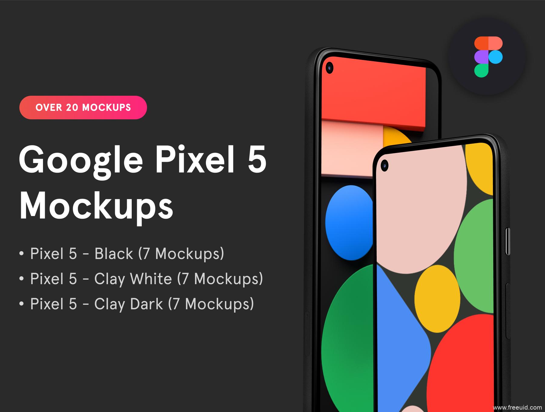 免费Google Pixel 5样机mockup模板,安卓手机样机mockup figma源文件