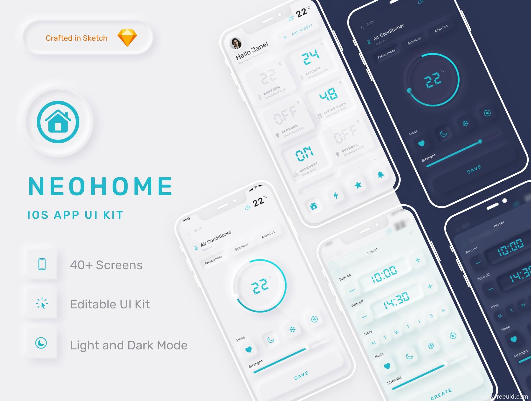 新拟物风格智能家居App应用程序UI设计Sketch模板,新拟态风格UI源文件下载