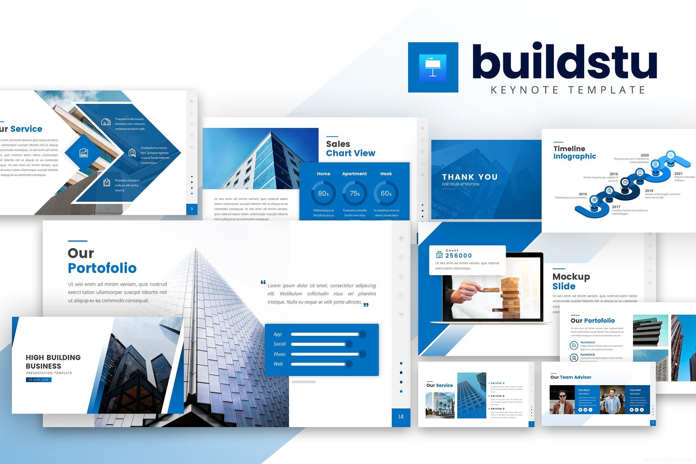 商务蓝公司介绍Keynote幻灯片模板、企业官方展示PPT幻灯片模板下载