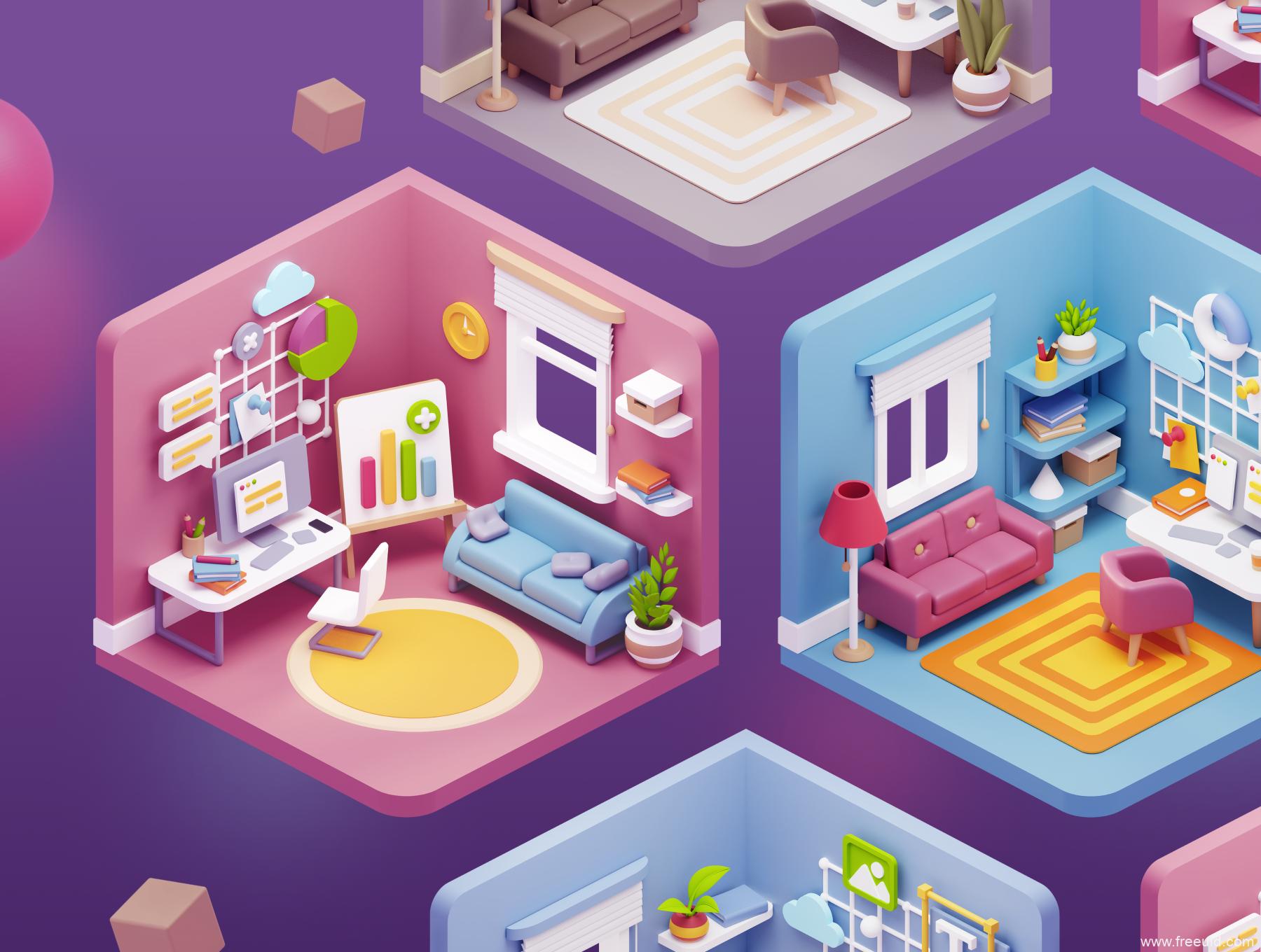 一套3D小房间插画系统源文件下载,矢量运营3D插画房间元素源文件下载