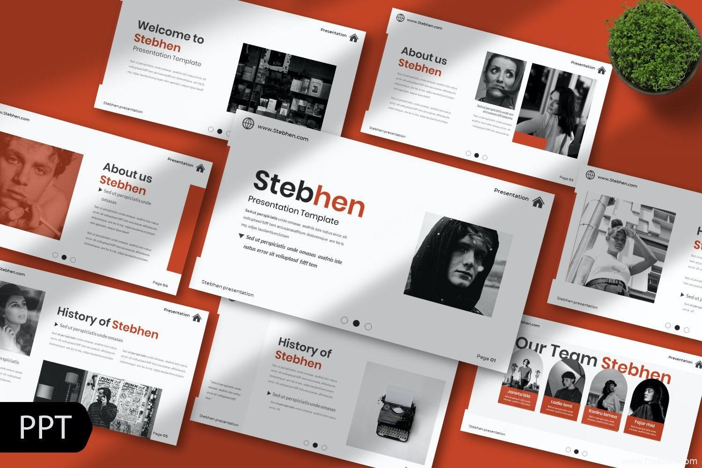 多功能个人简历展示powerpoint模板、设计师作品集包装PPT幻灯片模板
