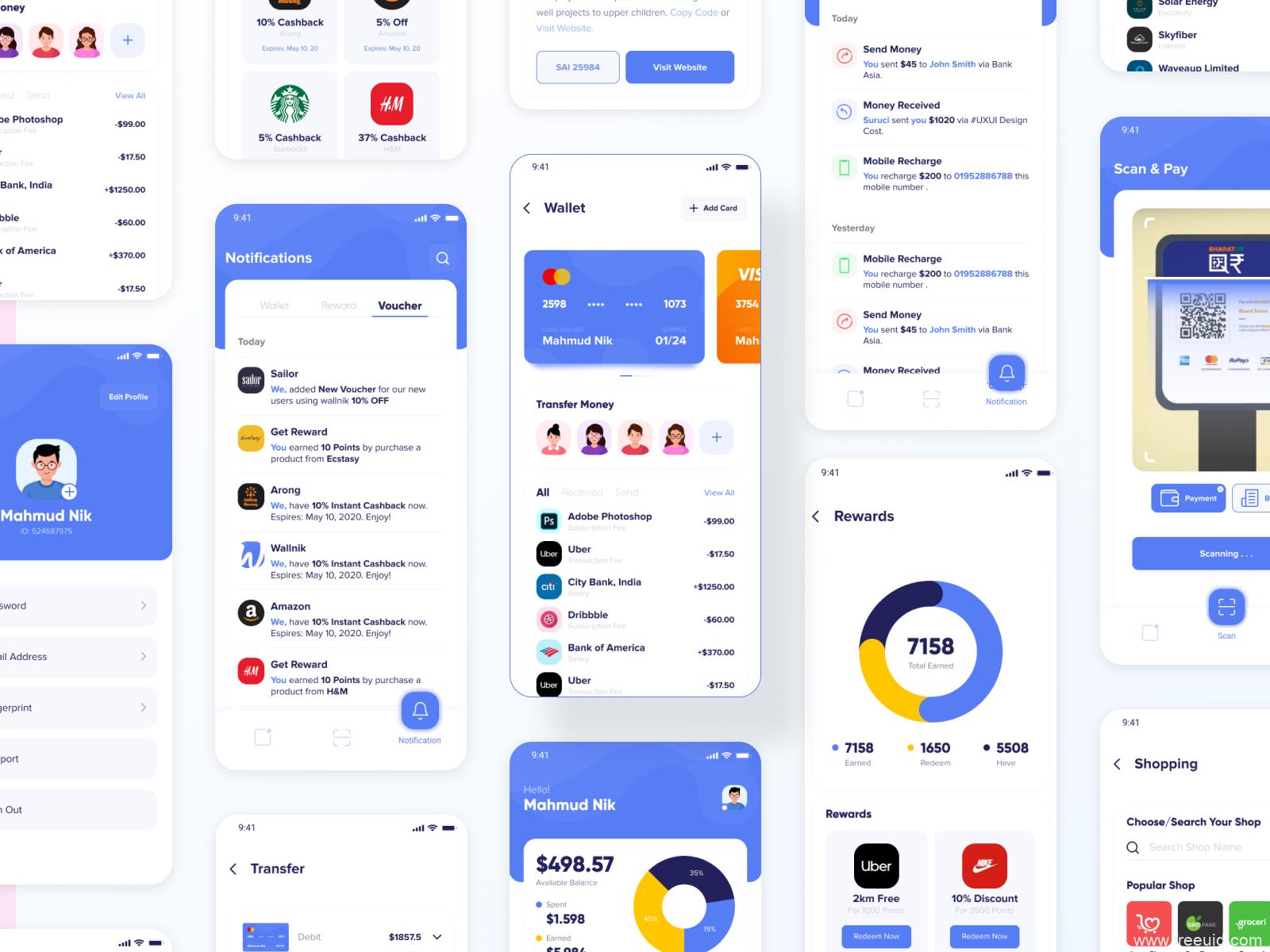 一套完整的金融钱包UI设计解决方案,在线支付UI界面资源下载,金融app UI设计源文件figma源文件下载