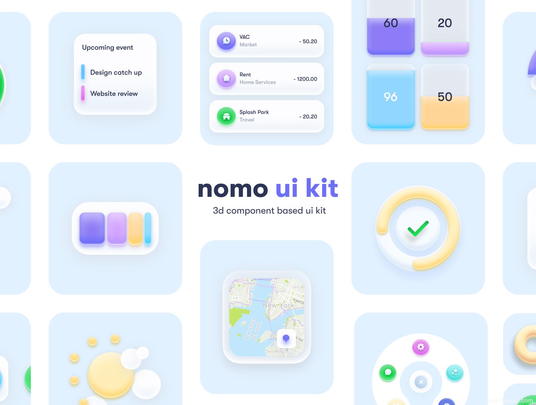 新拟物UI源文件,新拟态UI资源,轻质感UI kit,玻璃质感UI kit套装sketch源文件下载