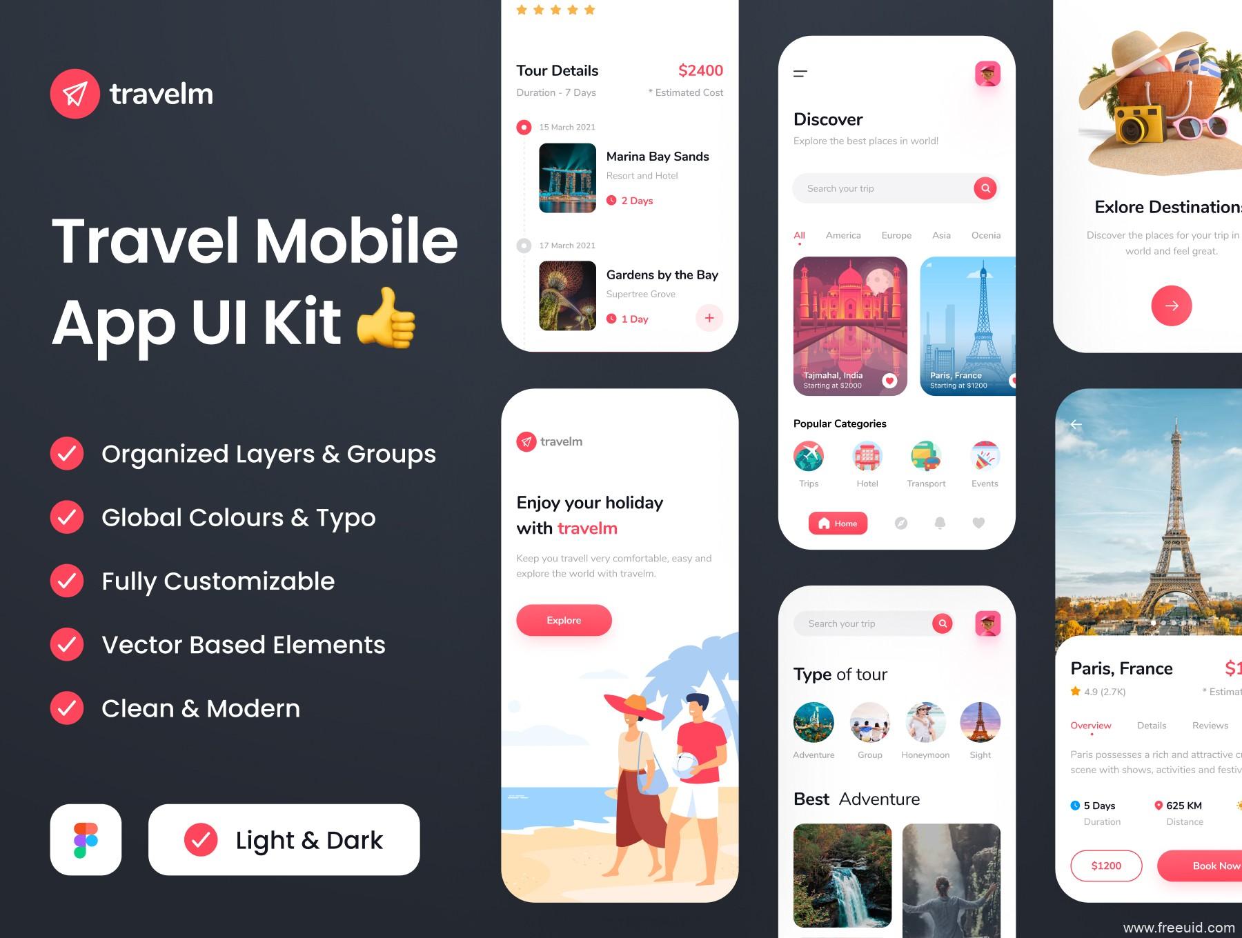 一套旅游app UI资源下载,旅行UI kit资源套件下载,旅游民宿app UI源文件