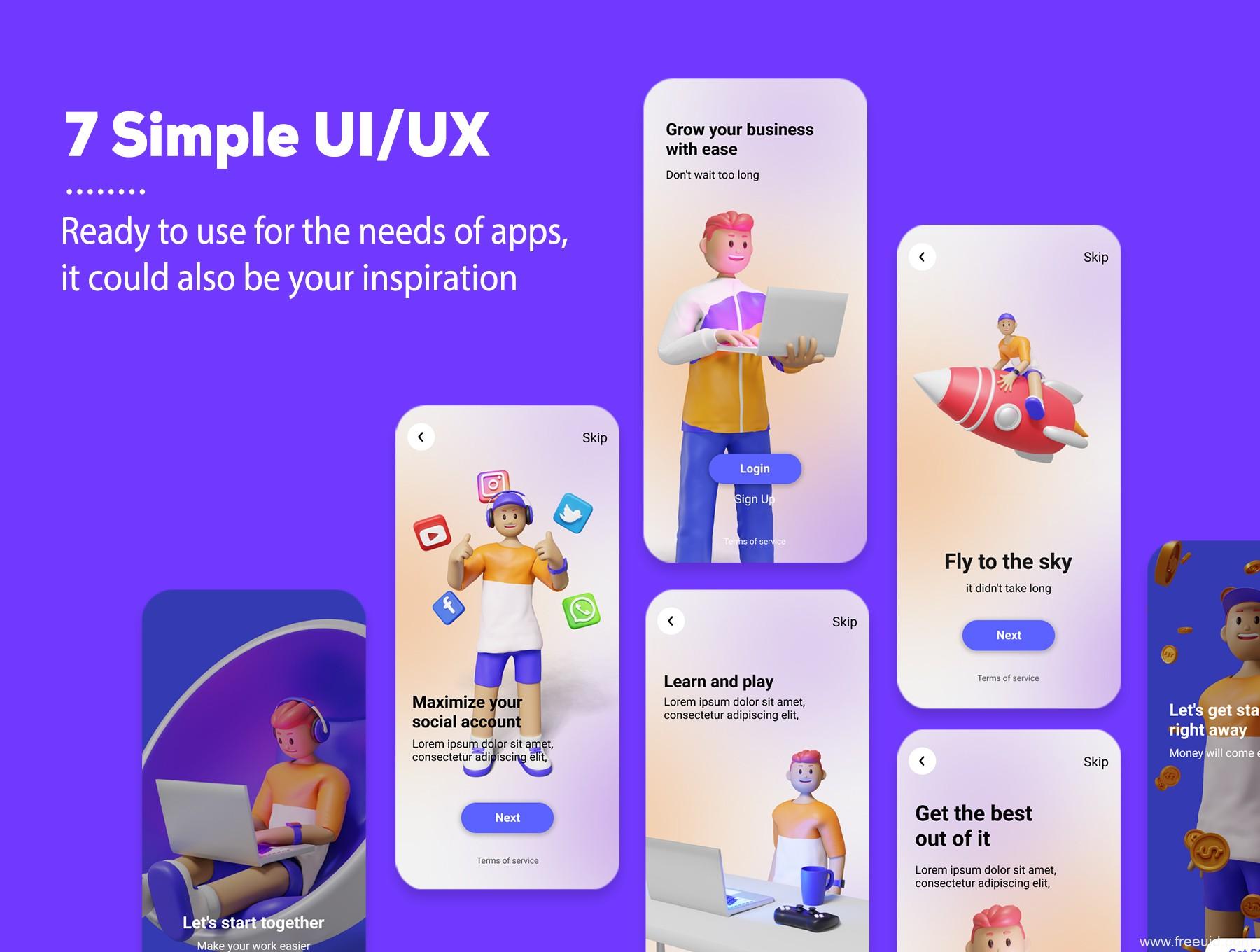 年轻时尚的3D人物角色插画源文件,UI 3D插画网页3d人物角色blend源文件下载