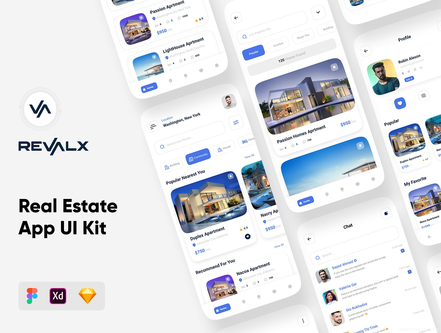 房地产应用app UI源文件下载,房产中介应用app UI资源下载,房屋租赁app UI素材sketch源文件