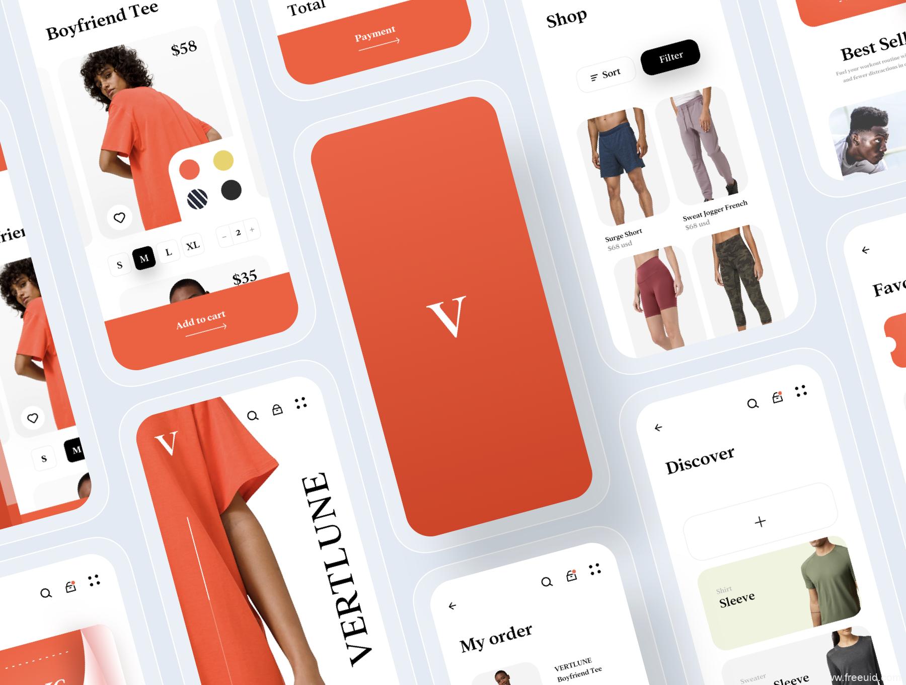 一套时尚电商app UI源文件下载,时尚服装电商应用UI 资源下载,服装电商xd、figma、sketch源文件