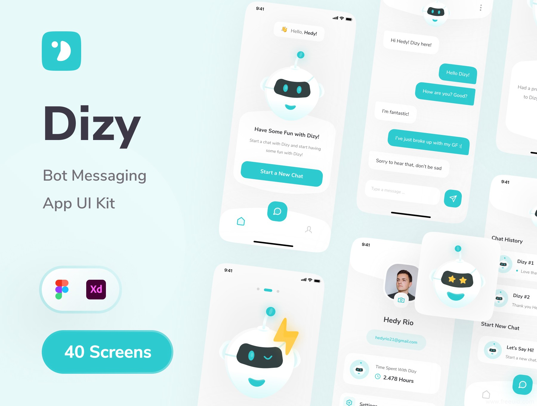 AI助手app ui资源下载,聊天机器人应用UI kit,人工智能聊天客服系统UI设计素材,xd、fig源文件