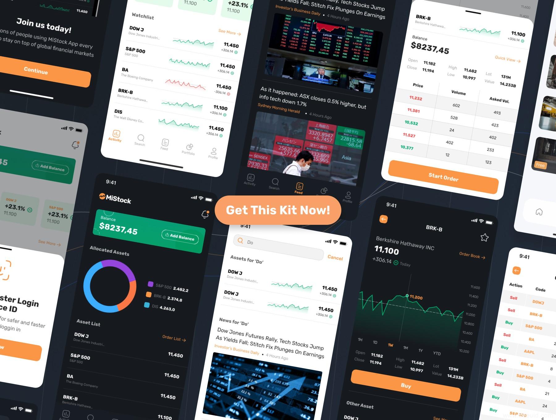 一套股票金融app ui源文件下载,股票应用app ui素材下载,炒股app ui资源sketch源文件