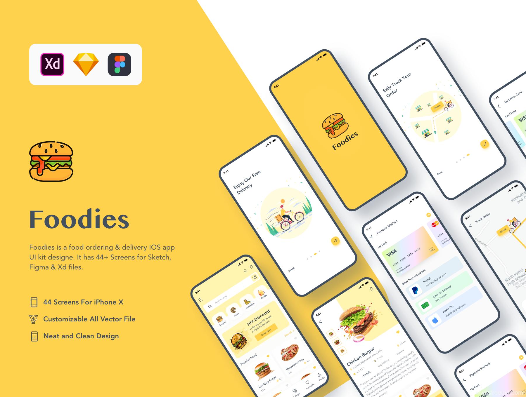 简约的插画风美食应用UI源文件下载,美食外卖APP UI资源下载,在线下单美食APP UI素材