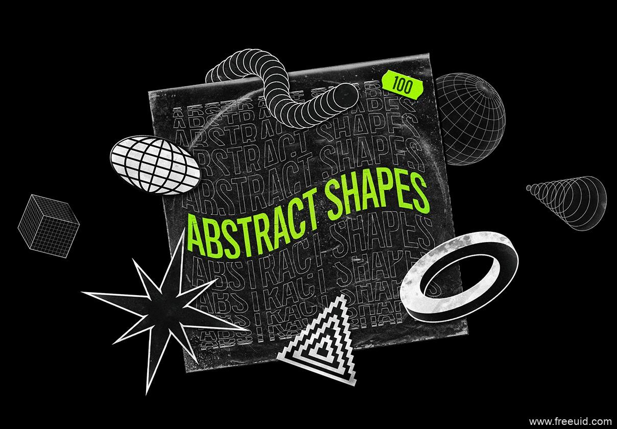 100个酸性设计风格矢量素材源文件,抽象视觉包装psd源文件,酸性设计风矢量视觉包装元素