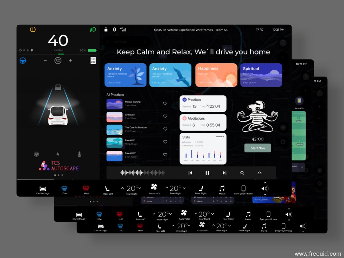 全套智能汽车UI界面设计源文件,车机系统UI界面源文件,智能车机交互UI源文件下载