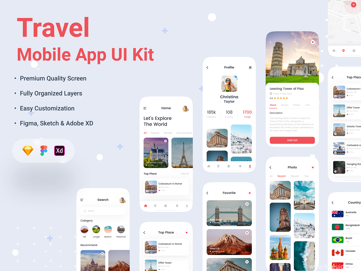 一套旅游app ui源文件下载,旅行应用UI资源sketch源文件、xd、figma源文件