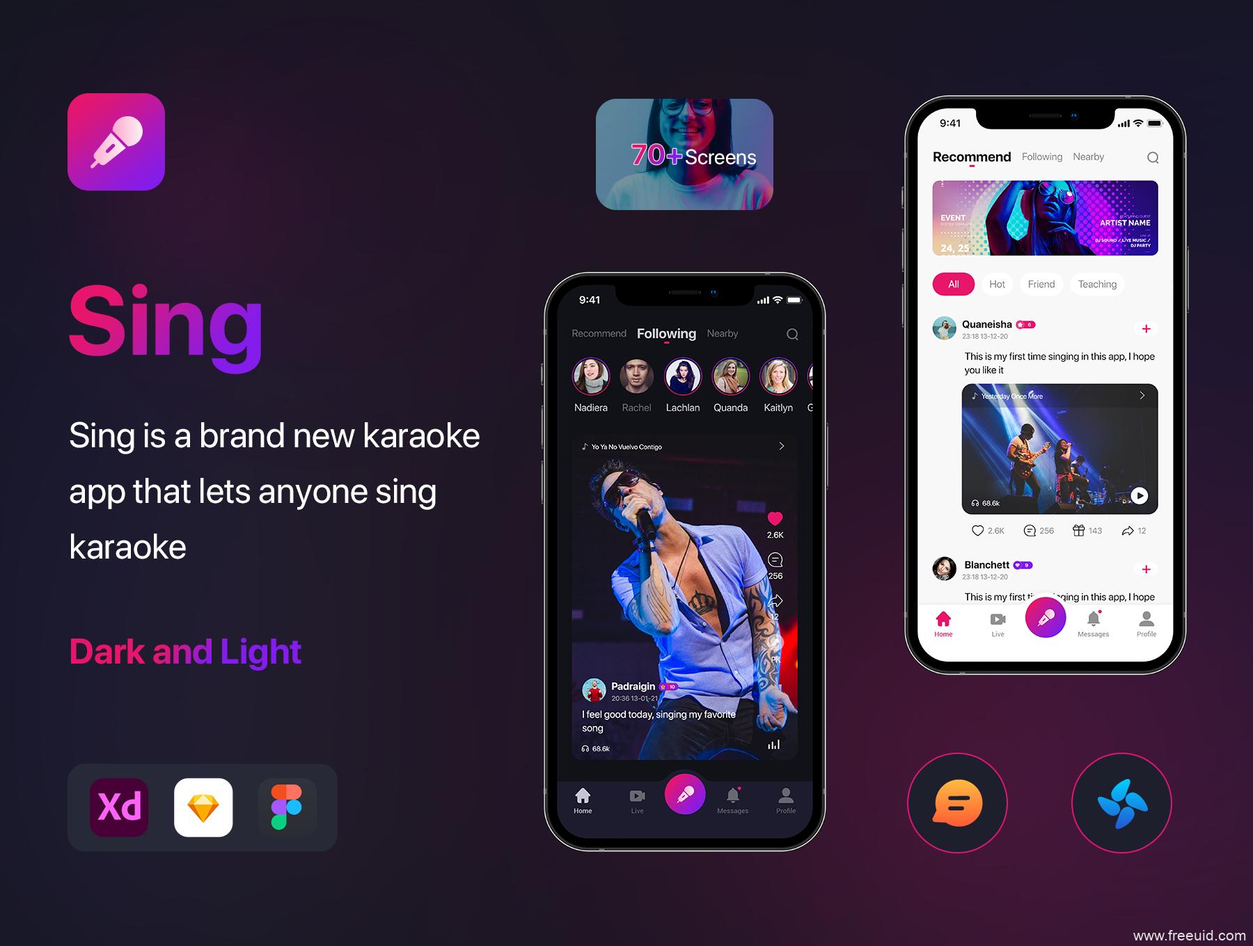 社交类K歌应用UI界面设计,短视频app UI源文件,K歌直播APP UI设计源文件