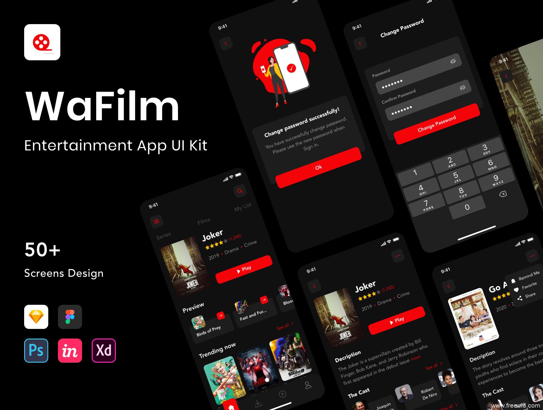 超酷电影app UI界面设计源文件,影视视频应用app UI源文件xd,sketch,fig,psd,studio格式全套