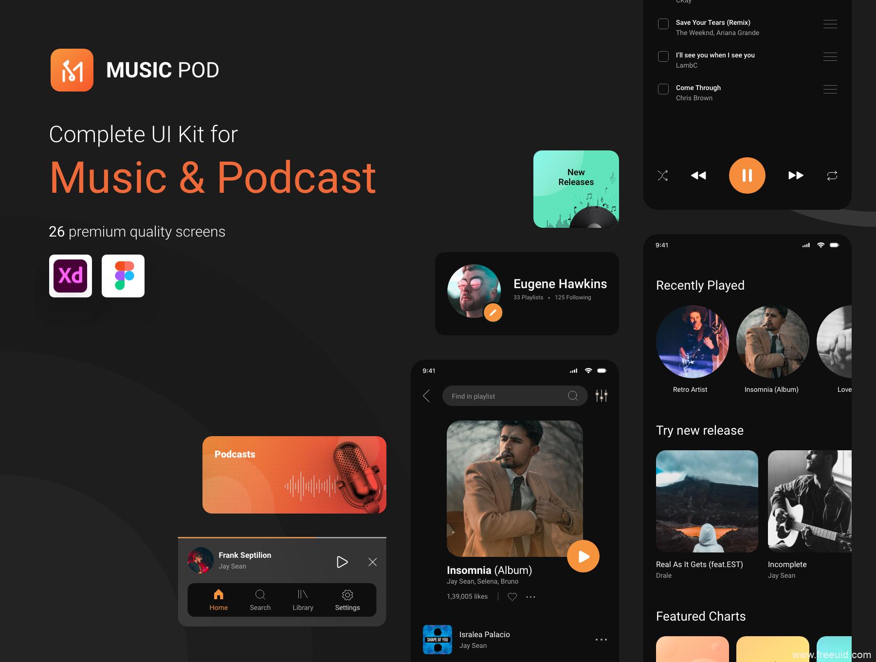 音乐app UI界面设计,音乐社区UI源文件下载,FM播客UI素材下载xd、figma