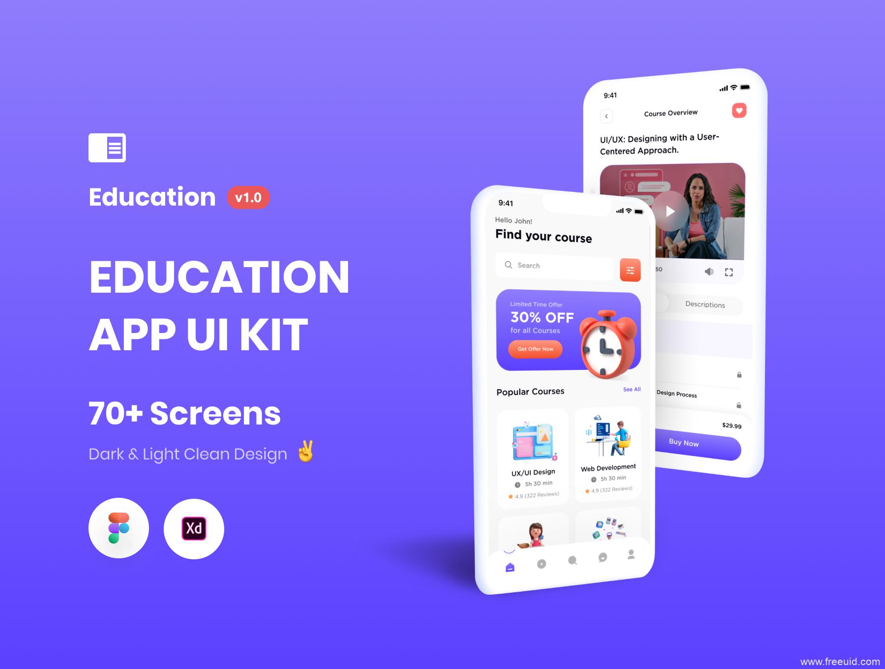 时尚流行风格的在线教育APP UI素材下载,教育学习app UI源文件下载,黑白双色教育UI资源下载