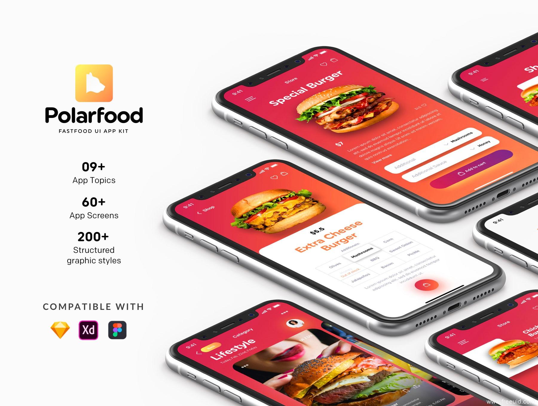 美食快餐app UI源文件下载,快餐汉堡UI界面设计,肯德基、麦当劳点餐app UI素材下载