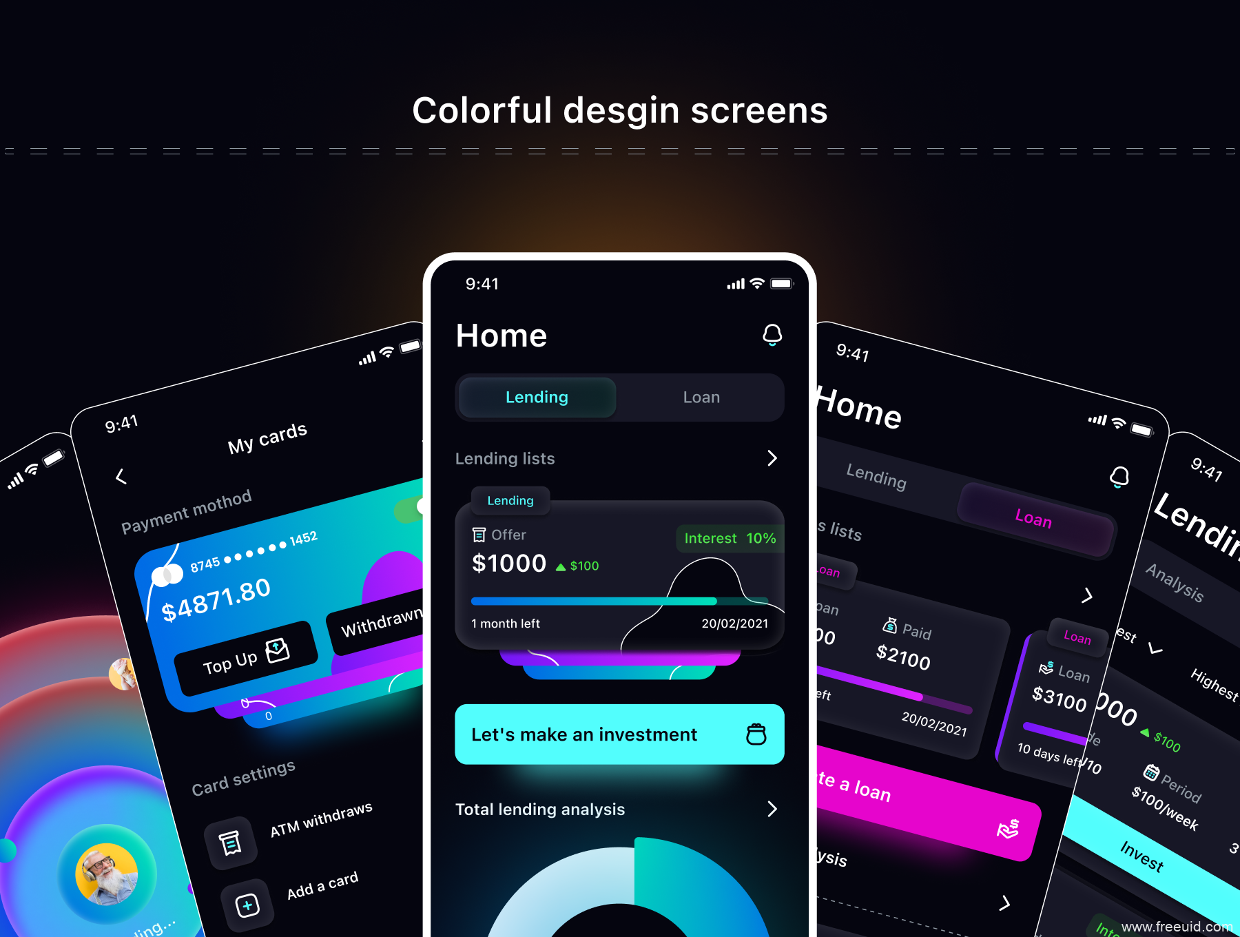 暗色炫酷风格金融app UI源文件下载,电子钱包UI素材下载,酷黑流行风金融app UI kit下载