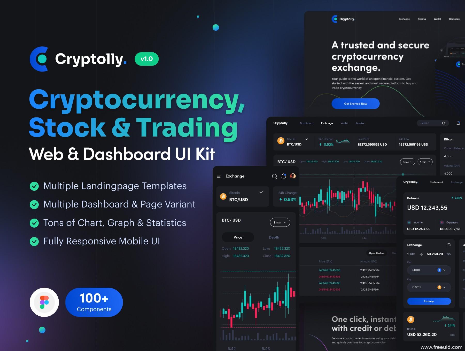 最新加密货币区块链UI kit套装下载,暗色区块链交易所平台UI源文件下载