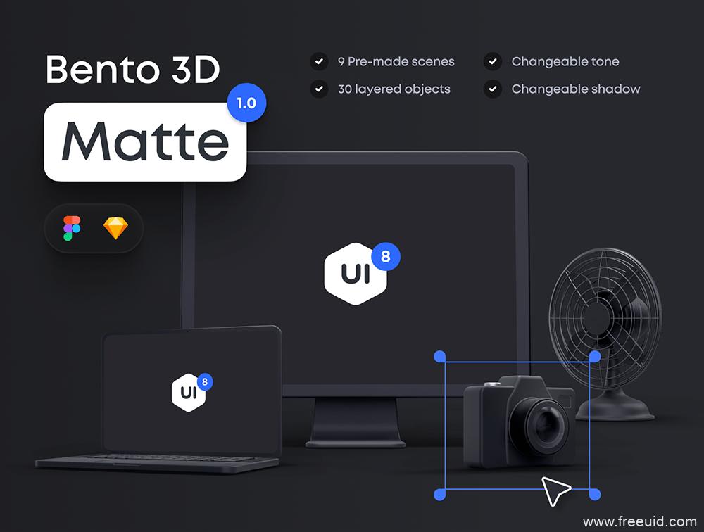 高级感的3D哑光电脑样机mockup源文件,3D场景样机sketch原文件