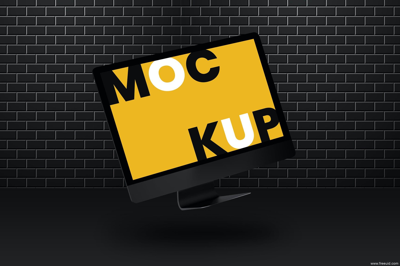 免费电脑样机,iMac电脑样机psd源文件,高清显示器mockup样机psd源文件