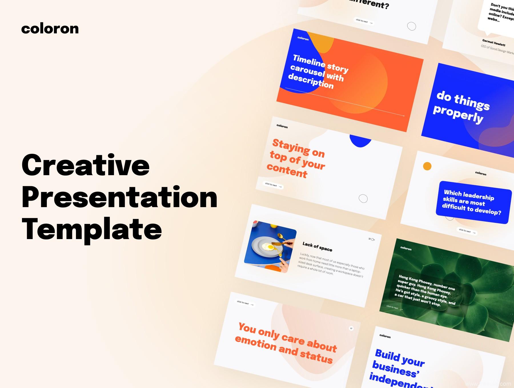 2021流行多彩渐变加几何图形UI设计师作品集keynote模板,创意报告ppt模板,设计作品集封面keynote模板